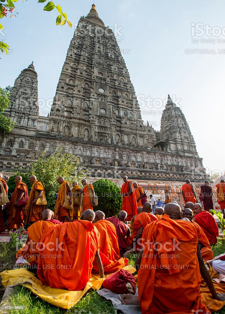 Monks and the Temple stock photo