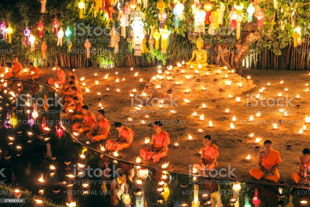 Monks at Phan Tao temple during the Loi Krathong Festival stock photo