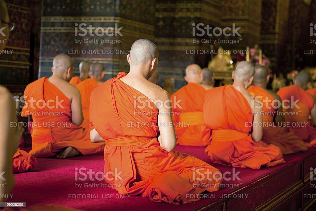 Monks chanting ritual stock photo