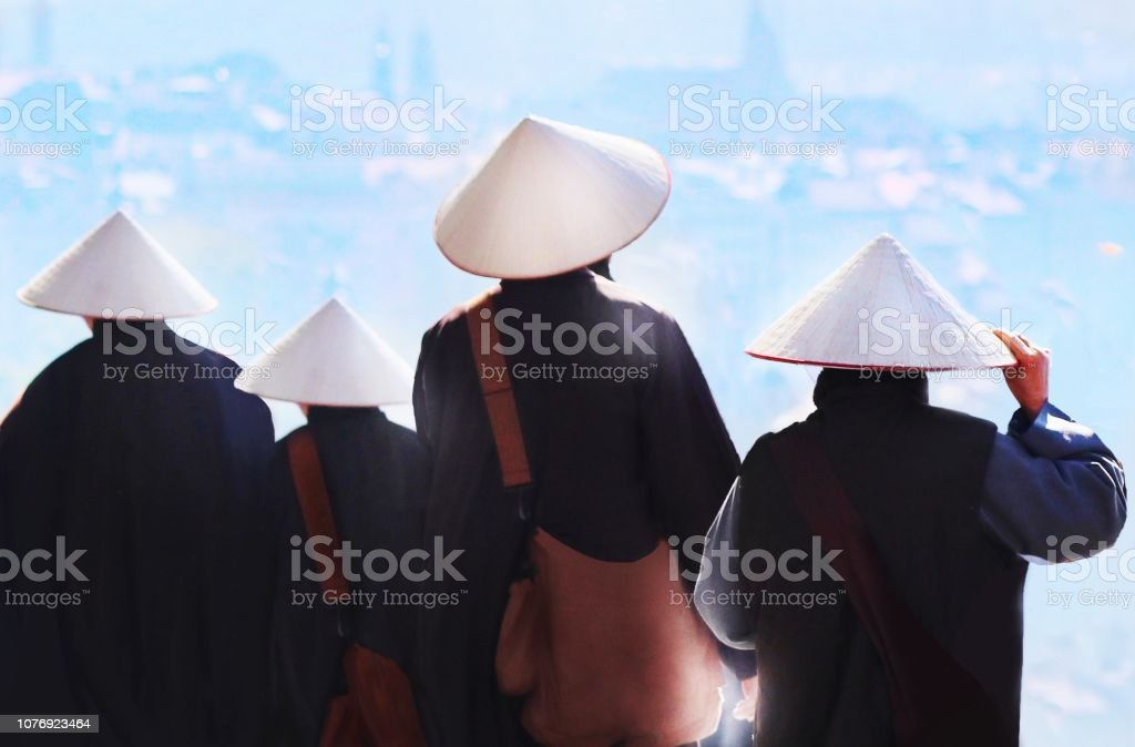 Monks contemplation stock photo