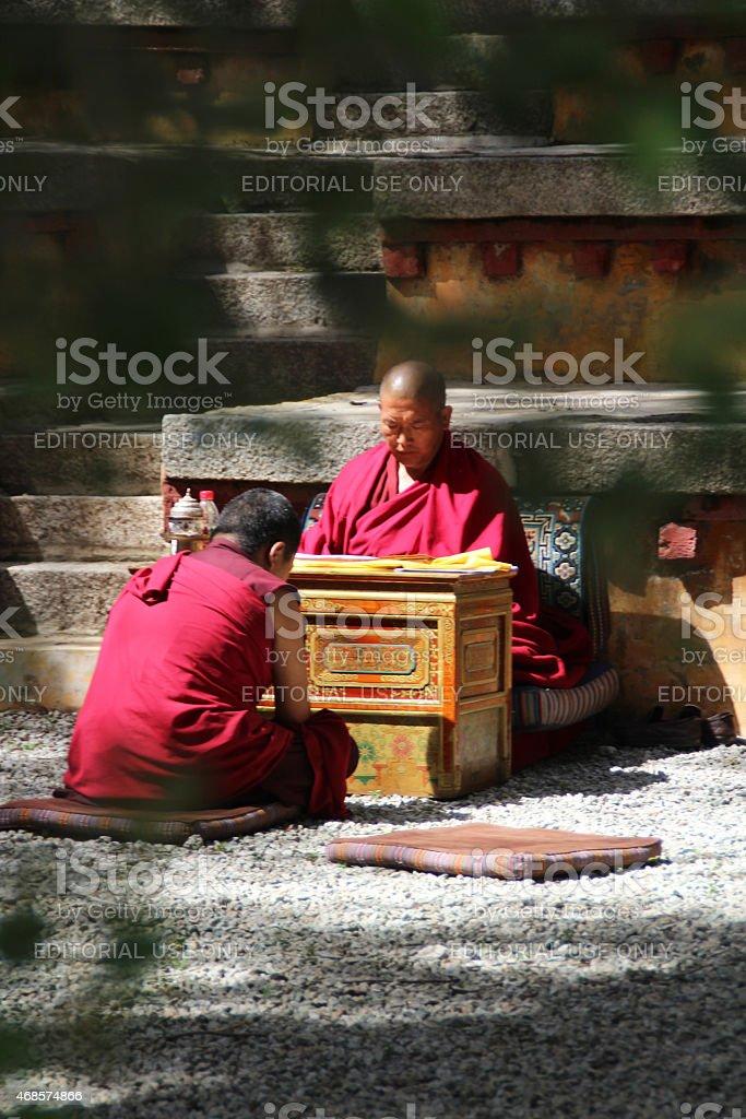 Monks Debating in Sera Monastry, Lhasa, Tibet stock photo