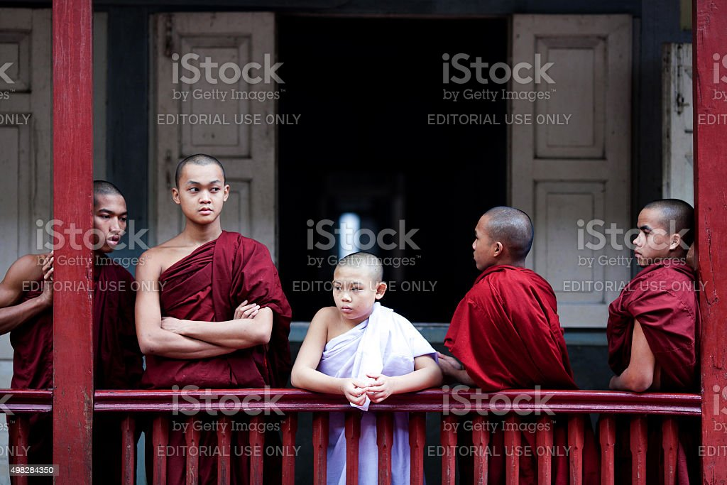 Monks in Amarapura, Myanmar stock photo