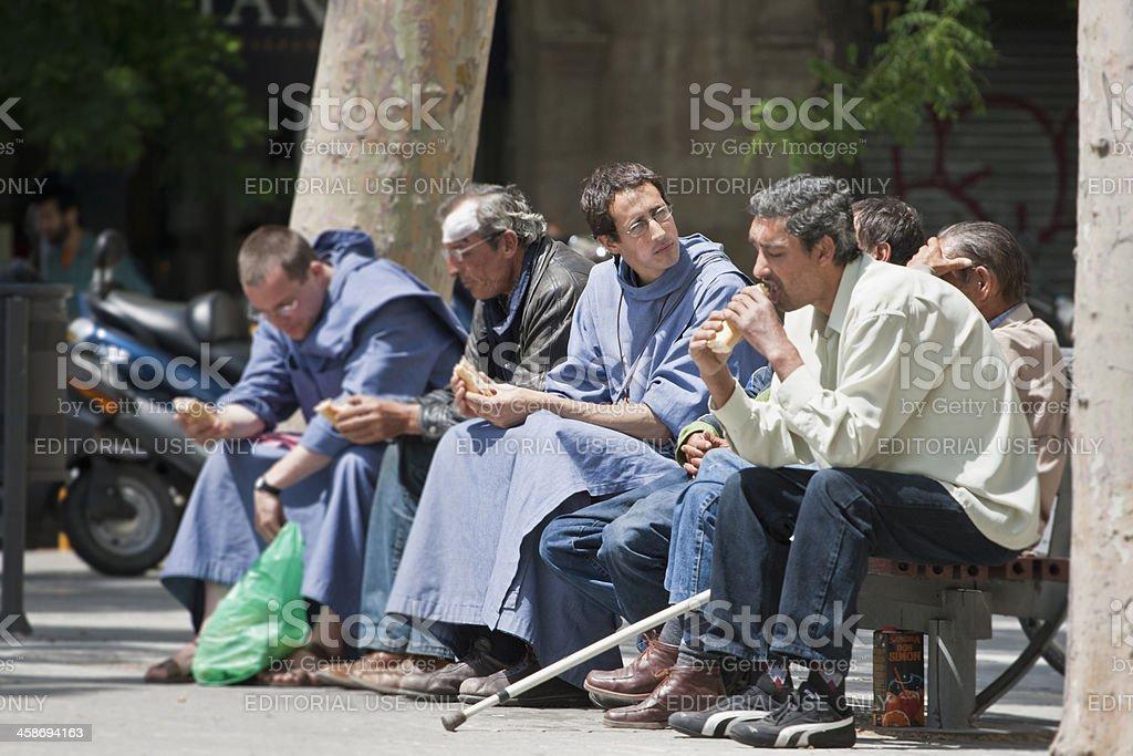 monks in Barcelona stock photo