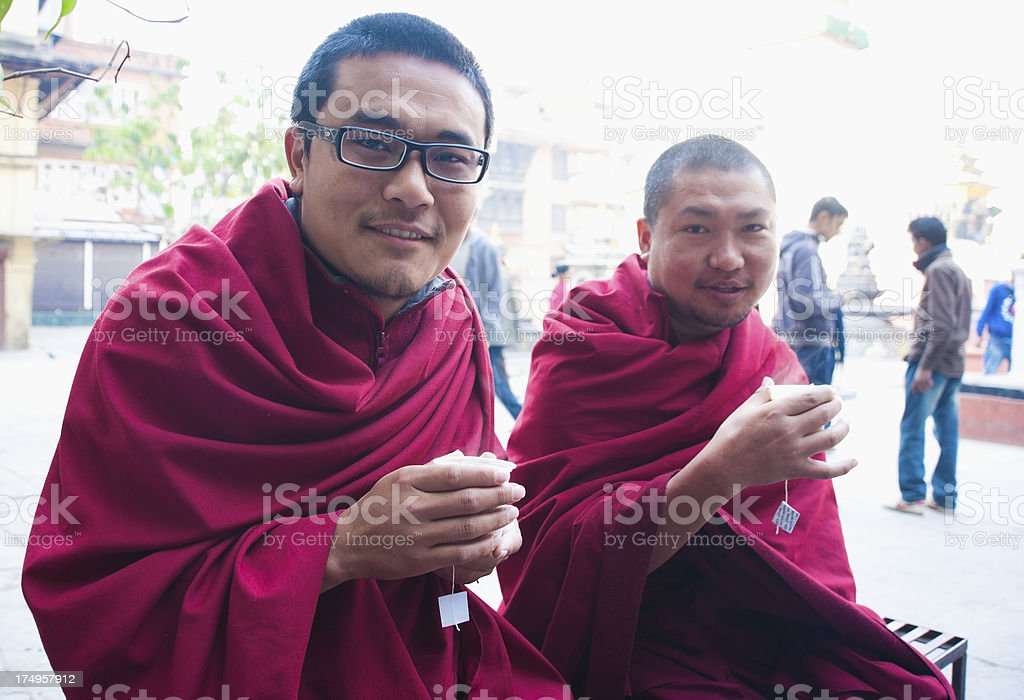 Monks in  Nepal royalty-free stock photo