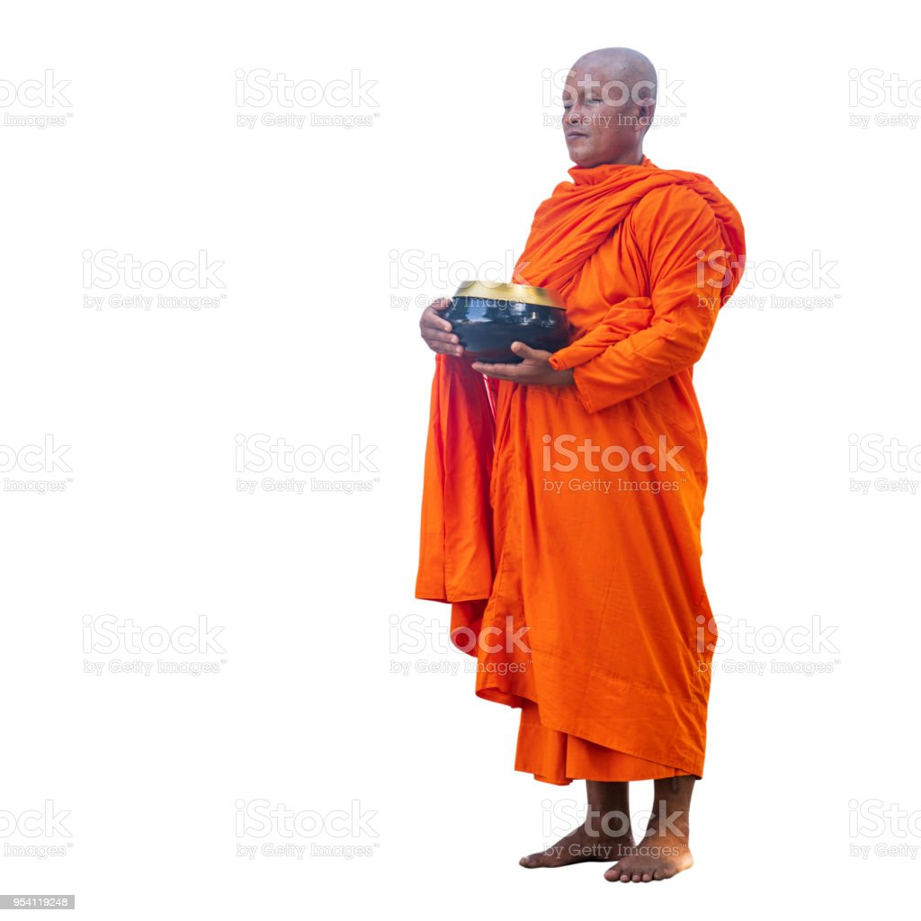 Buddhist monks holding rice bowls on white background with clipping...