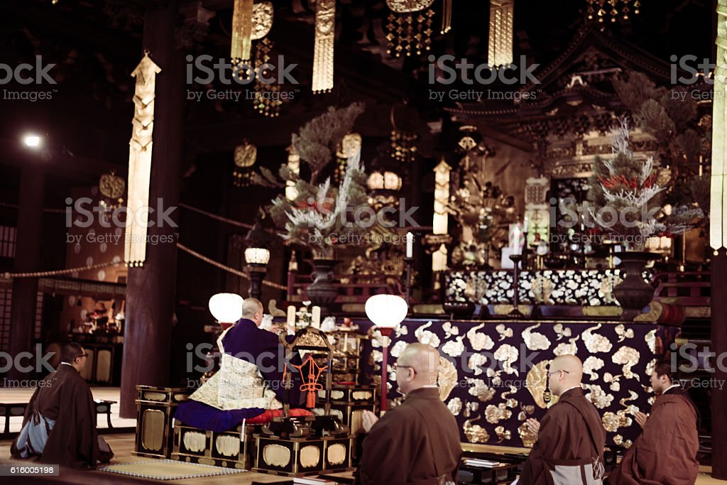 Monks on ceremony in Buddhist Shrine in Kyoto stock photo