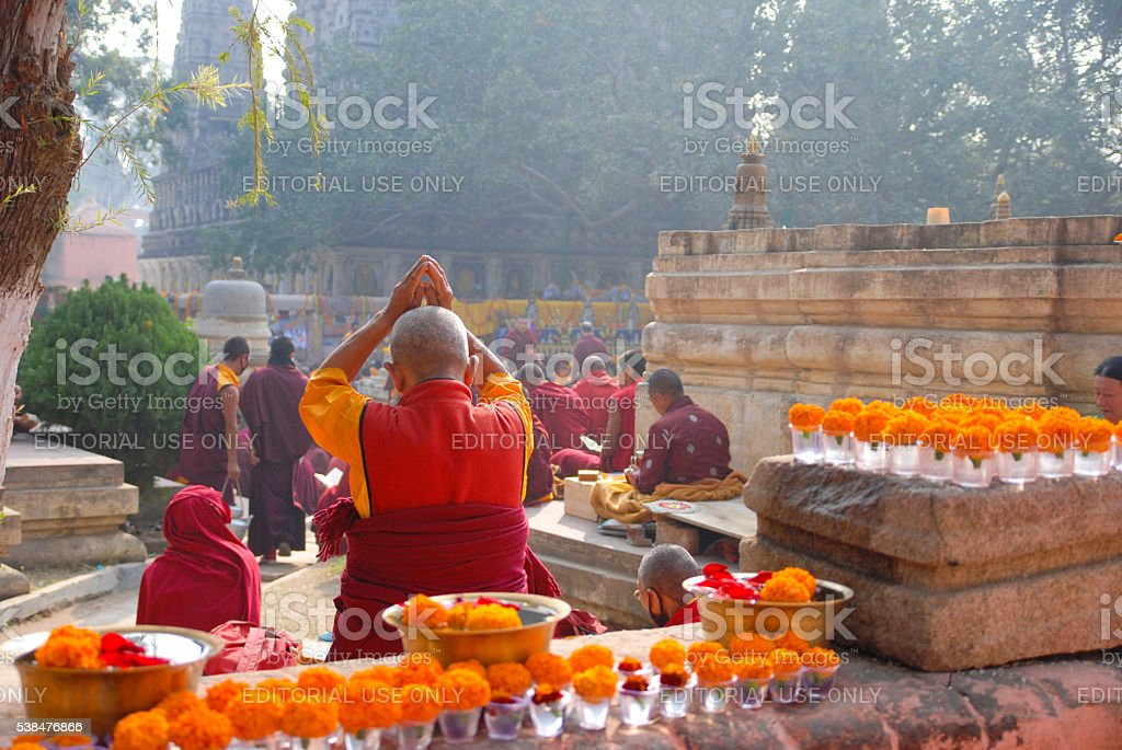 monks on ceremony in Mahabodhi Temple stock photo