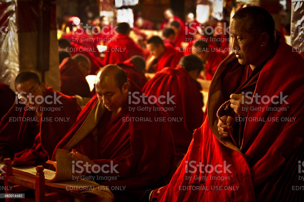 Monks study scriptures in Drepung Monastery Lhasa Tibet stock photo