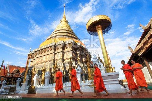 Lampang, Thailand - May 3 : Monks walk around  Wat Phra That Lampang Luang is a Lanna-style Buddhist temple in Lampang ,Thailand