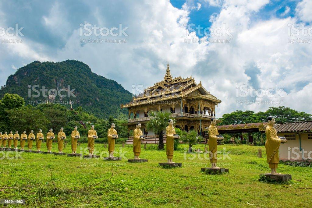 Monks wall in Wat Sao Loi Ton stock photo