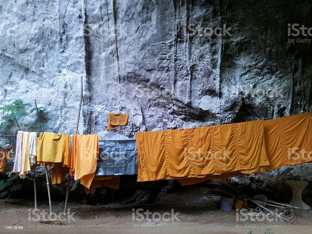 Monk's washing line stock photo