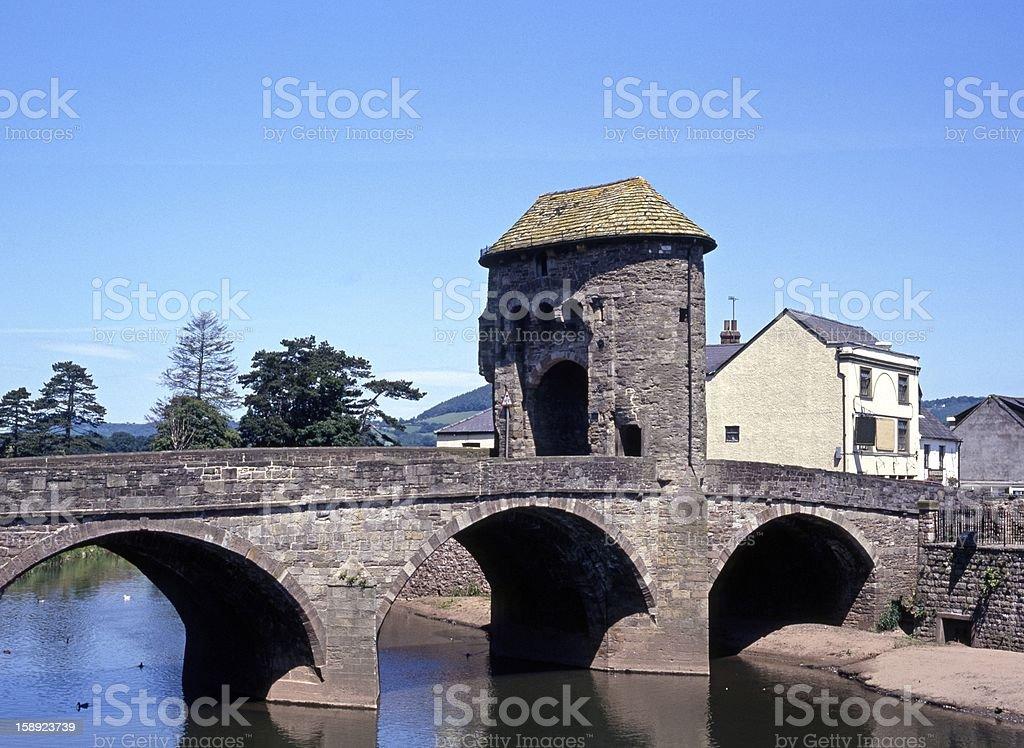 Monnow Bridge, Monmouth, Wales. stock photo