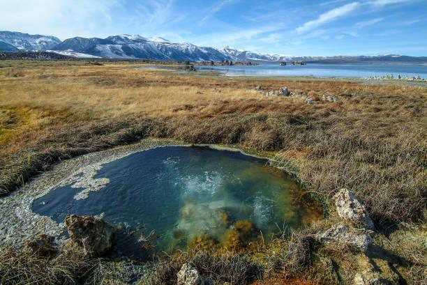 Mono Basin hot spring stock photo