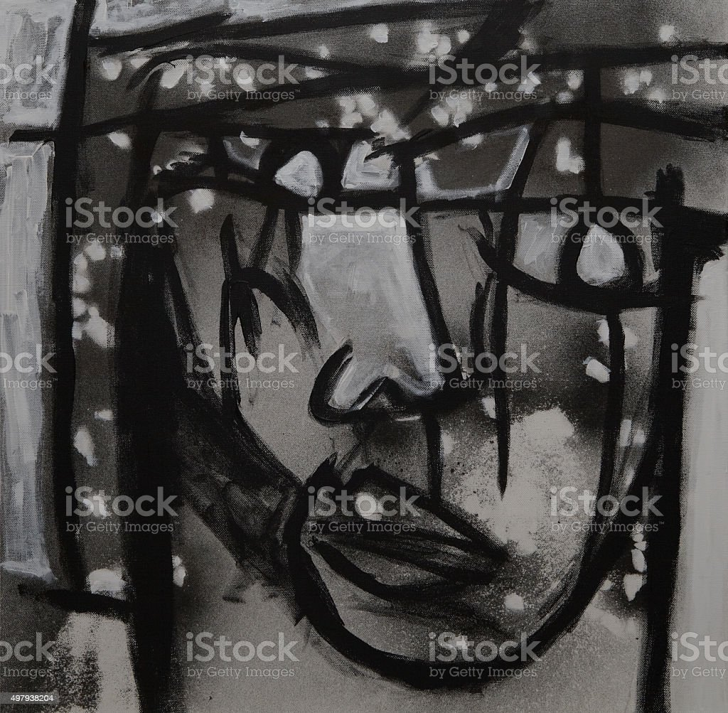 mono face (abstract monochromatic painting of a face) stock photo