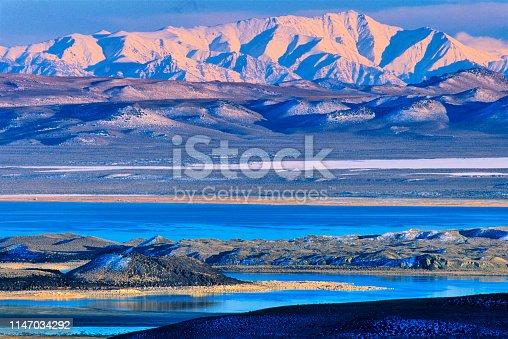 Mono Lake and tufa formations at sunrise, California