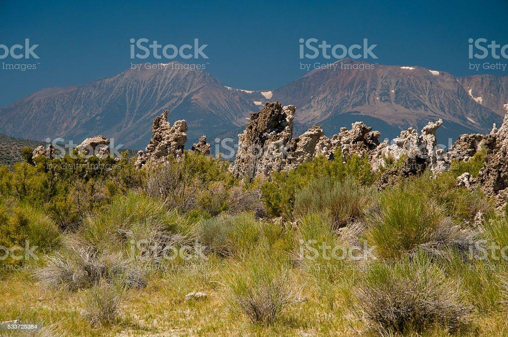 Mono Lake area with tufa formations stock photo