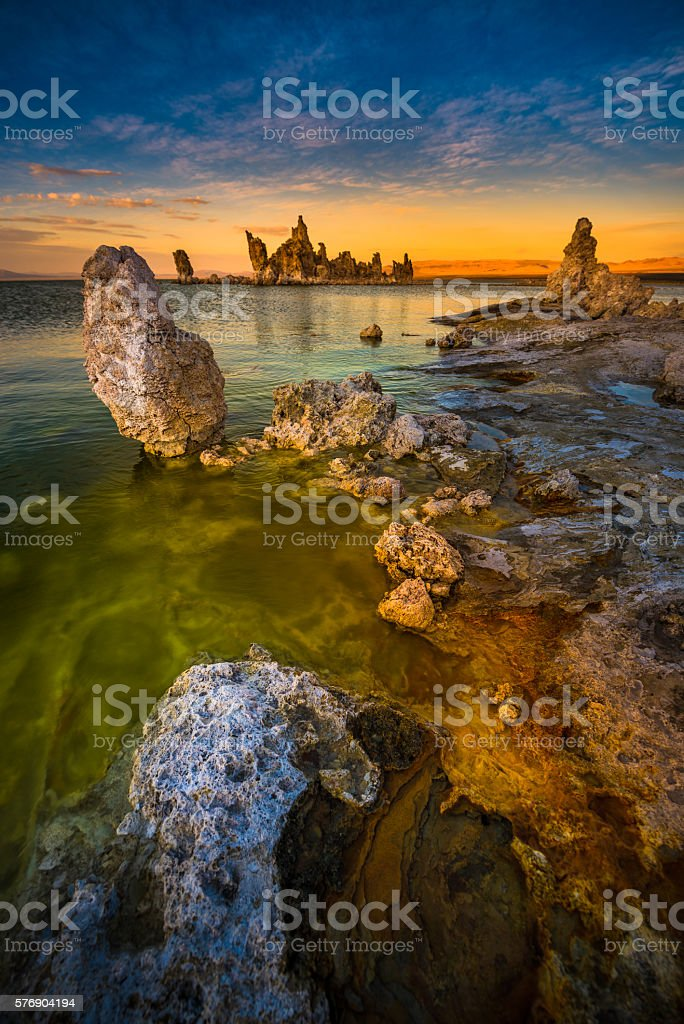 Mono Lake South Tufa after Sunset Vertical Composition stock photo