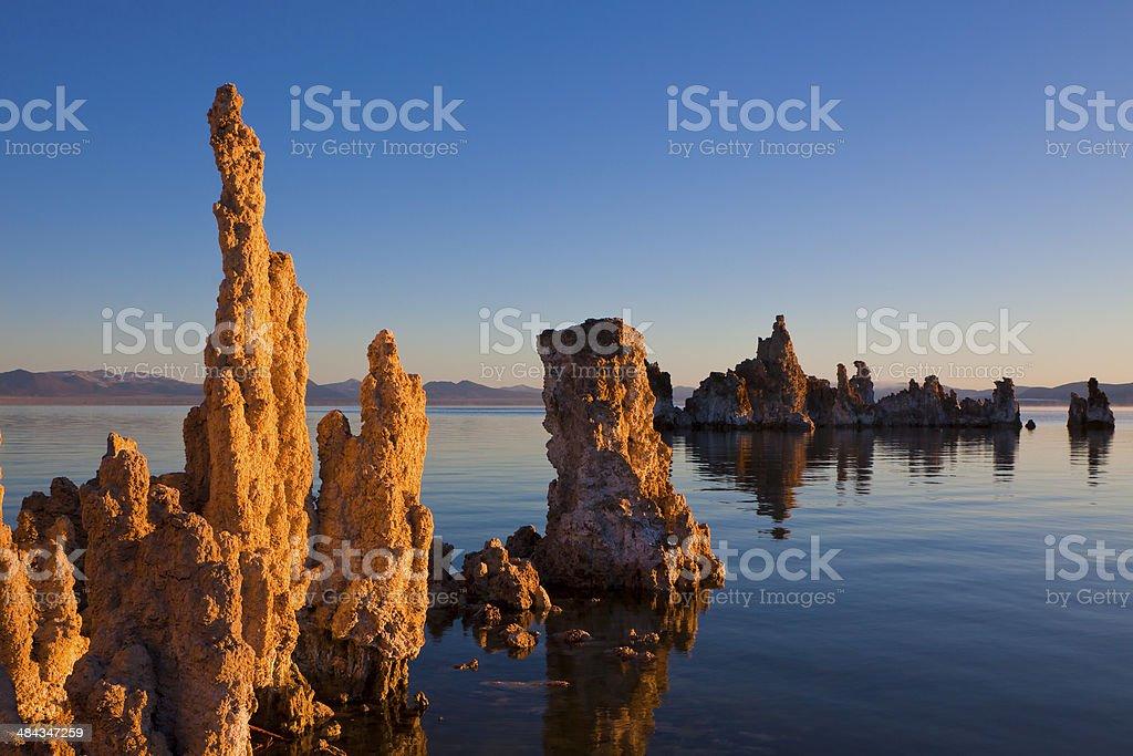Mono Lake Tufa Golden Hour stock photo