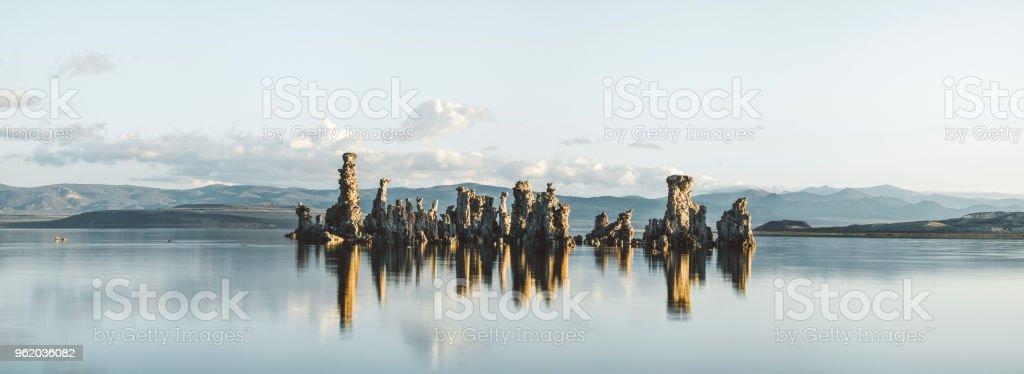 Mono Lake tufa panorama at sunrise stock photo