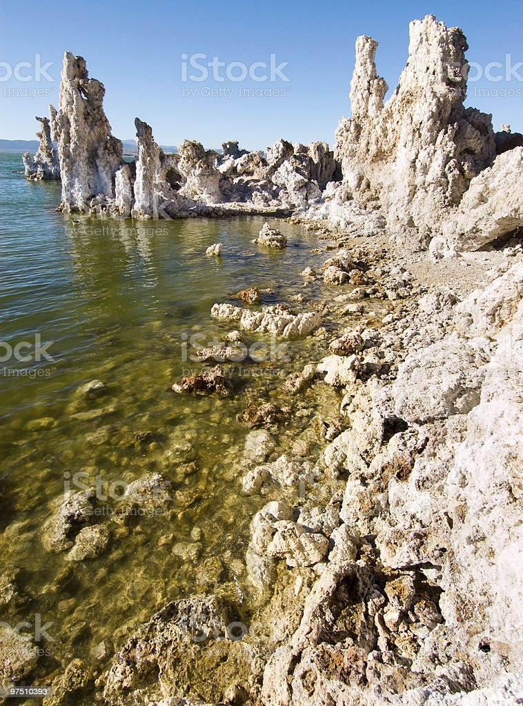 Mono Lake tufa rock formation and coastline royalty-free stock photo