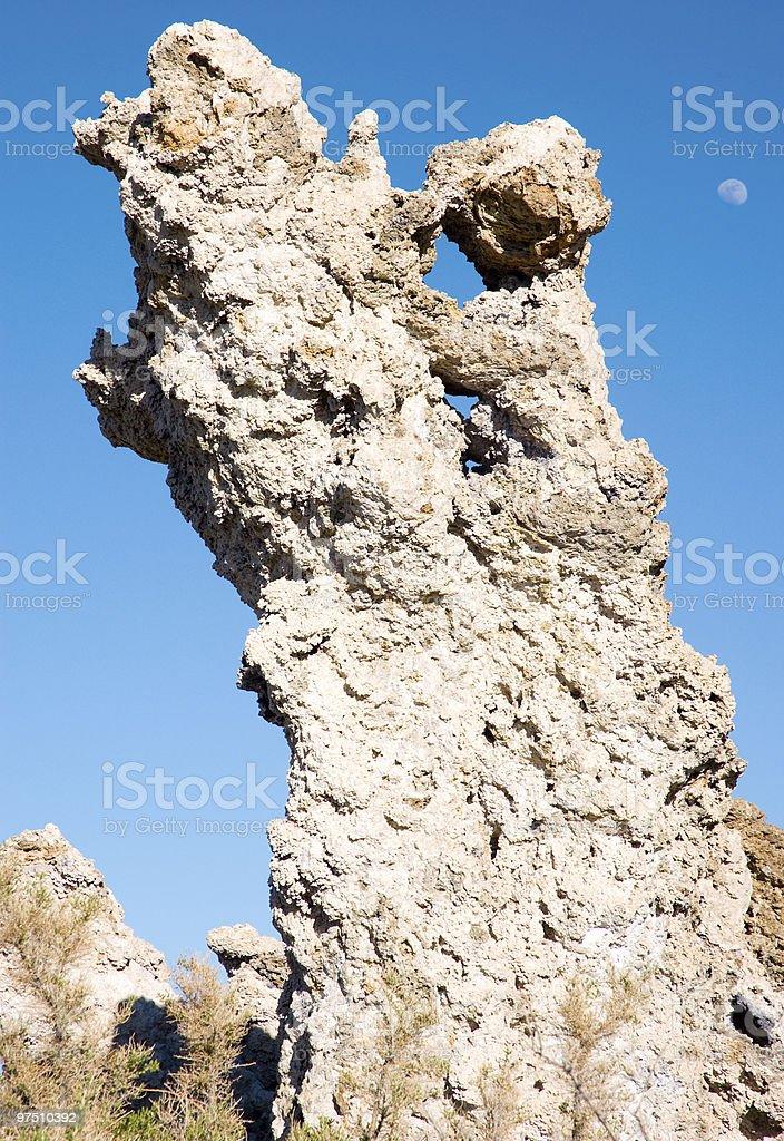 Mono Lake tufa rock formation and moon royalty-free stock photo