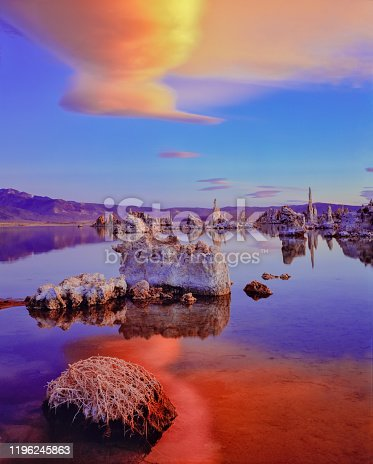 A SUNSET SKY WITH CLOUDS ABOVE THE TUFAS AT MONO LAKE, LEE VINING, CALIF.