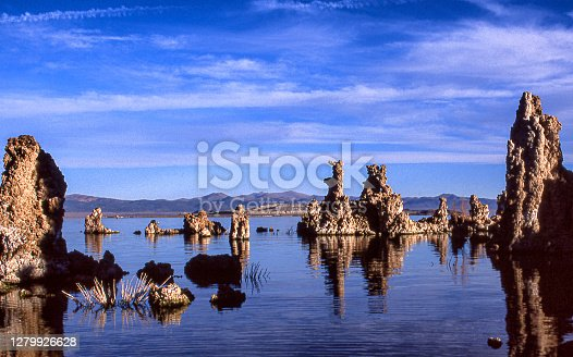 Early morning shot of tufa formation on the bank of Mono Lake under a cloudy sky.  Taken at Mono Lake, California, USA.