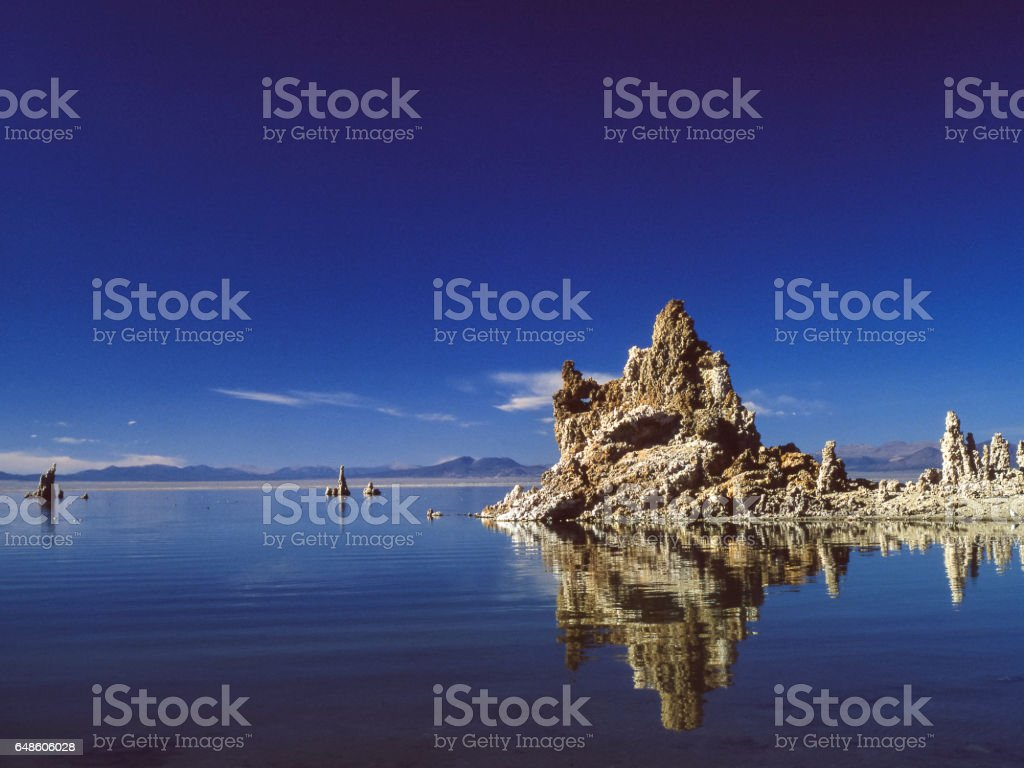 Mono Lake,Tufa Formations and Clouds stock photo