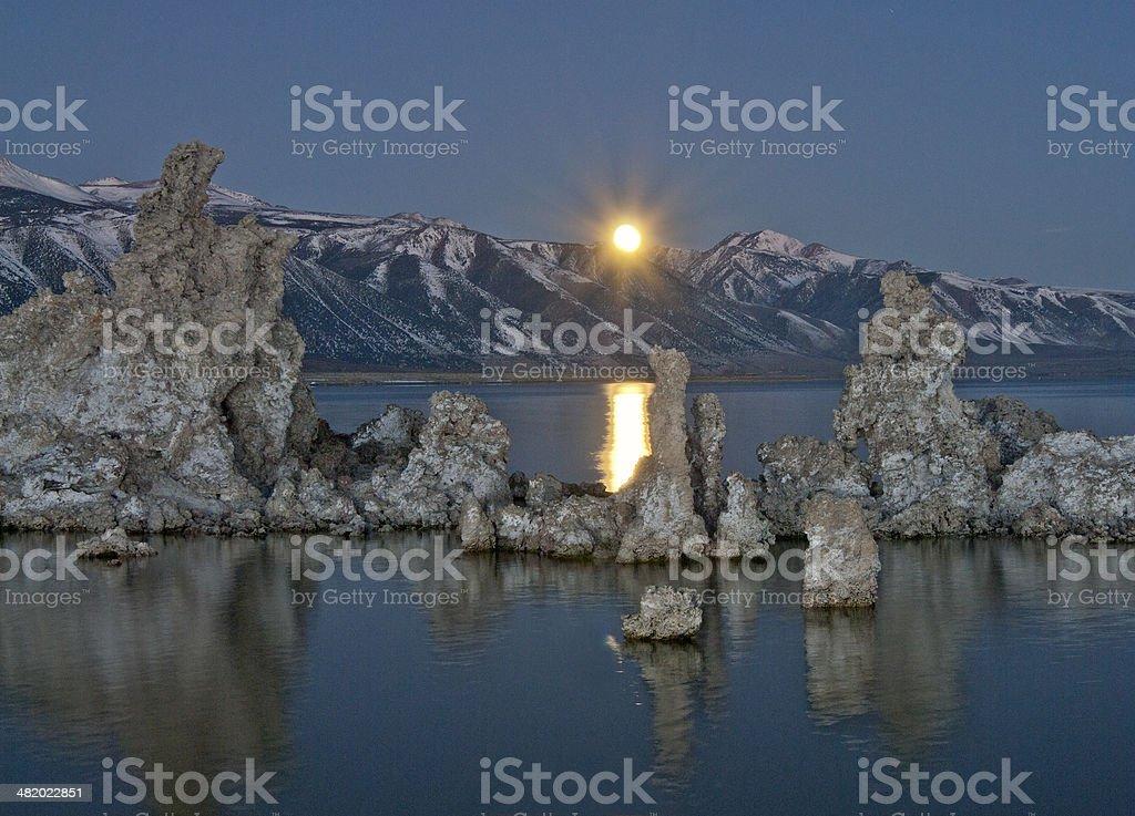 Mono Moonset royalty-free stock photo