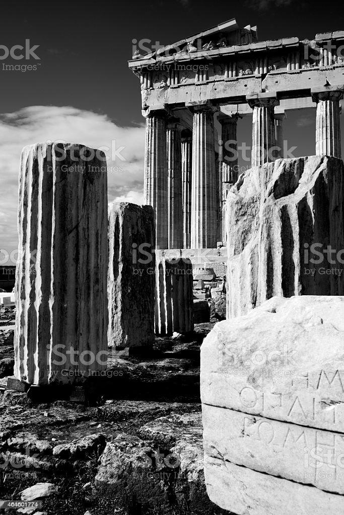 Mono ruined columns and pediment of Parthenon stock photo