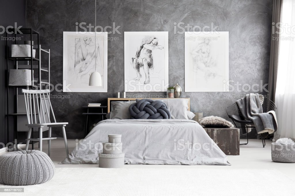 Monochromatic bedroom with king-size bed stock photo