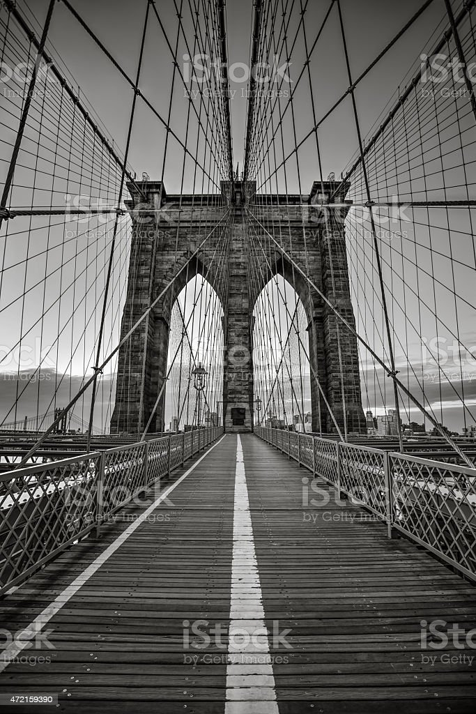 Monochromatic Brooklyn Bridge HDR stock photo