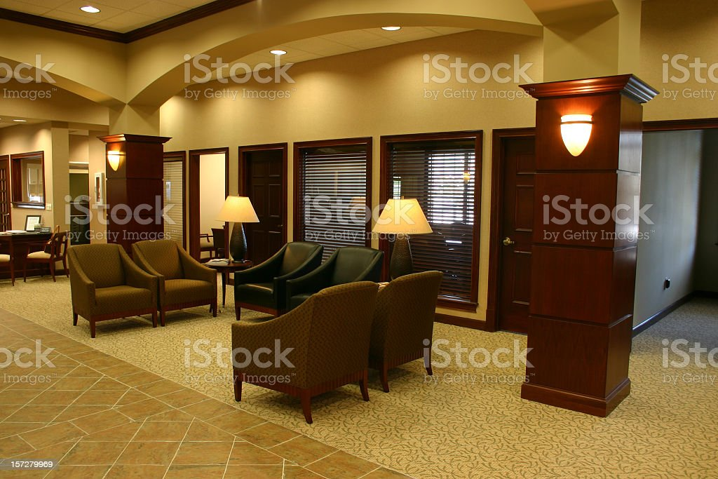 Monochromatic brown lobby space royalty-free stock photo