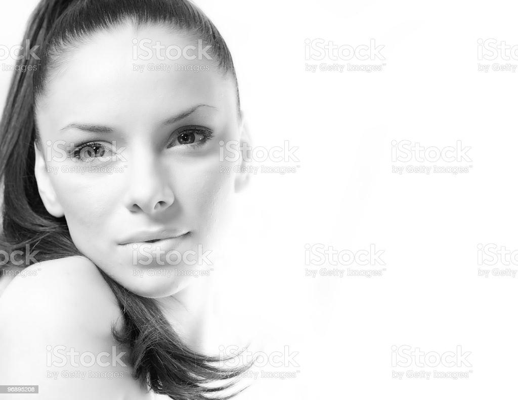 Monochromatic portrait of a woman royalty-free stock photo