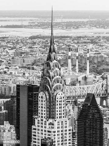 Monochrome aerial view of the Chrysler Building in New York.    Images depicting contemporary lifestyles and a modern travel and tourism destination.