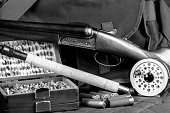 Monochrome game shooting and fishing equipment