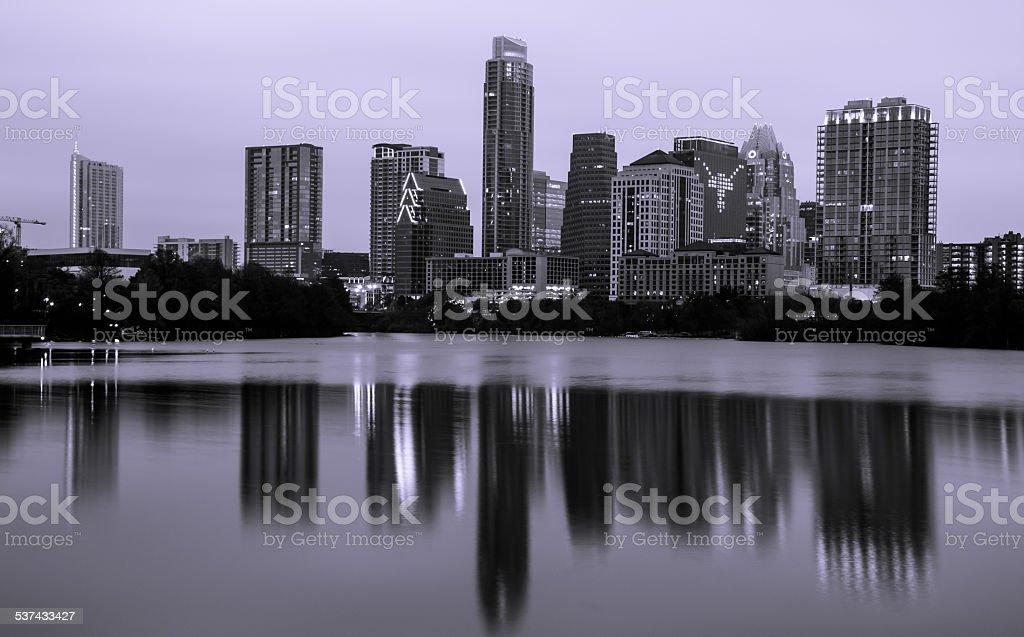 MonoChrome Austin Texas Skyline Longhorn Lights Cityscape stock photo