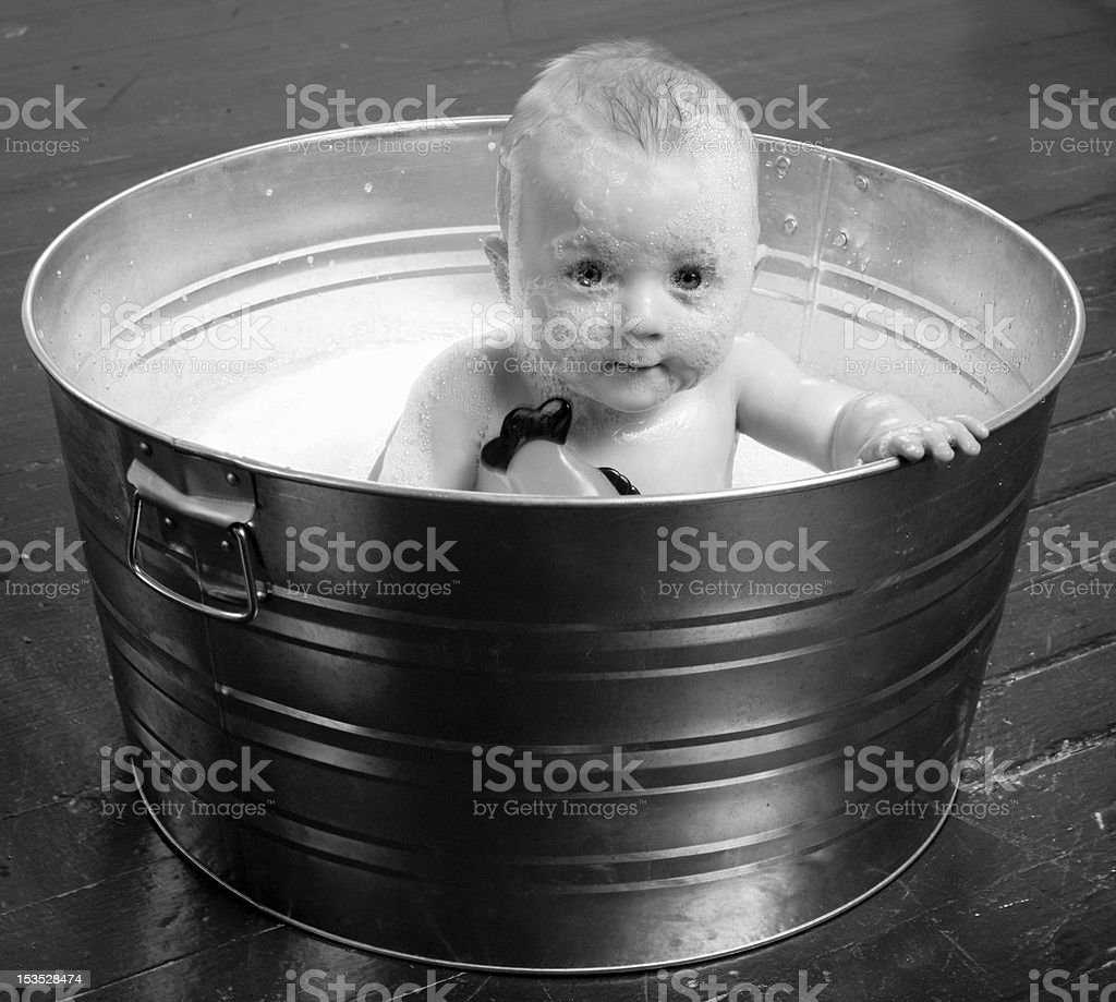 Monochrome Baby Male Infant Boy Galvanized Tub Taking Bubble Bath ...