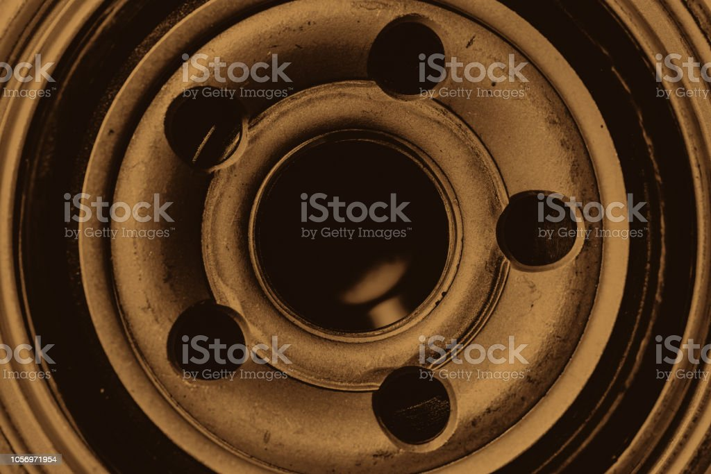 Monochrome Background Image Of Oil Filter Close Up Artwork From Auto