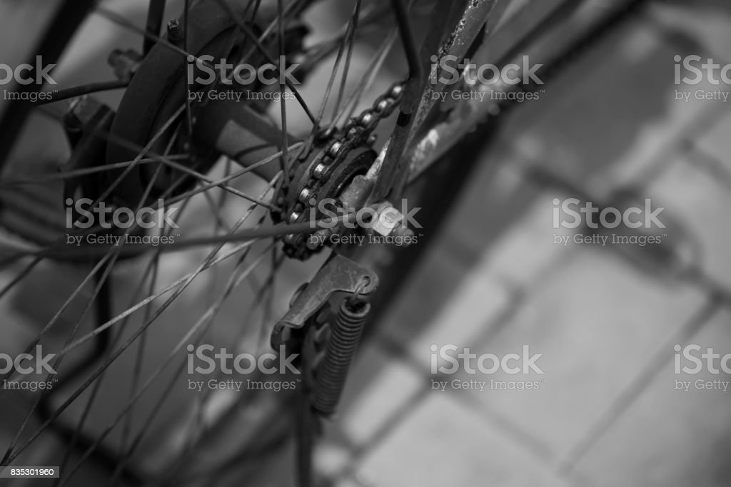 Monochrome: Bicycle's parts: close-up with blur background stock photo