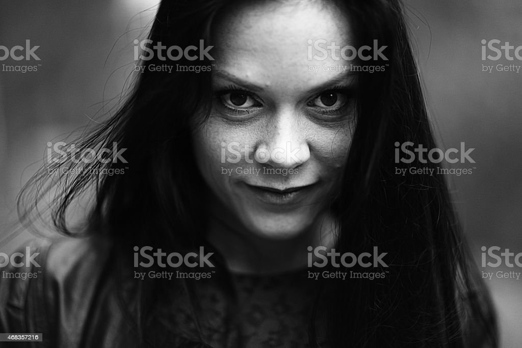 monochrome black and white portrait of a girl royalty-free stock photo