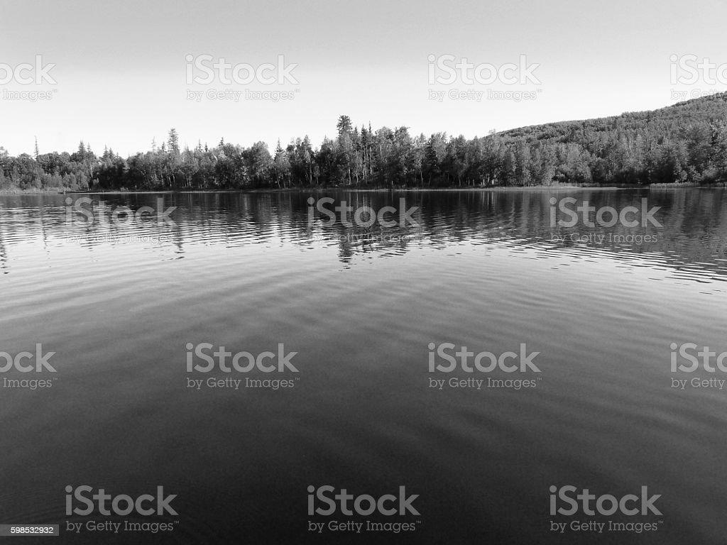 Monochrome Black White Lake Solitude Landscape Waves Trees Reflection photo libre de droits
