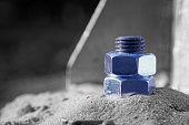 Monochrome blue silver highlighted Steel bolt fasten iron post.