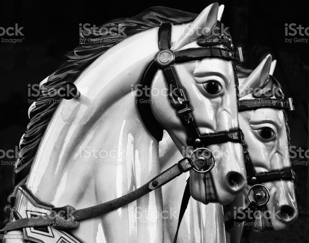 Monochrome Carousel Horses Stock Photo Download Image Now Istock