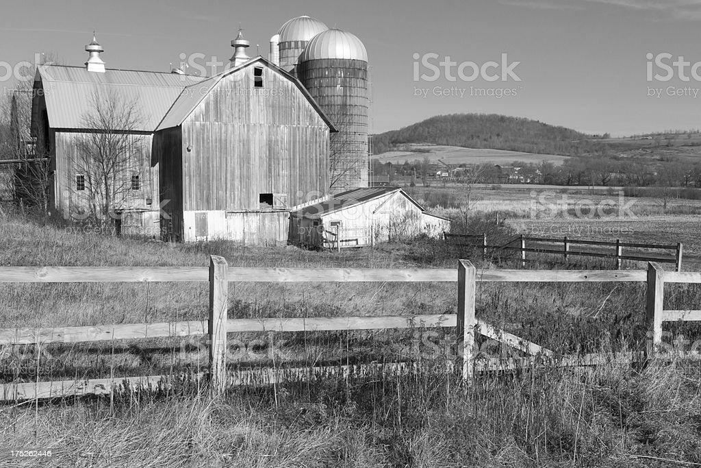 Monochrome Dairy Barn royalty-free stock photo