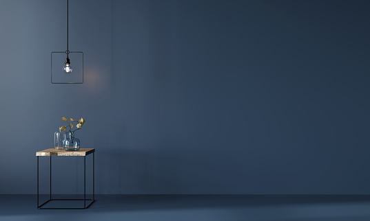 Monochrome Dark Blue Interior With Minimalistic Wooden Table Stock Photo - Download Image Now