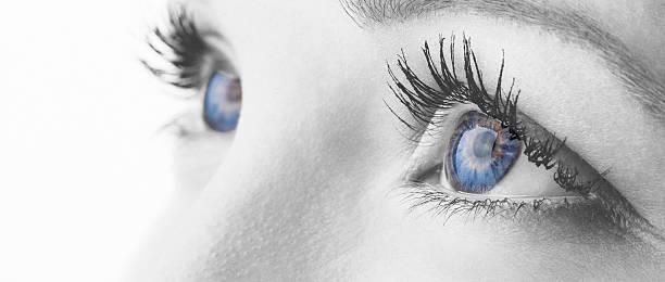 monochrom bearbeiten makro schuss der blaue augen - illustration optician stock-fotos und bilder