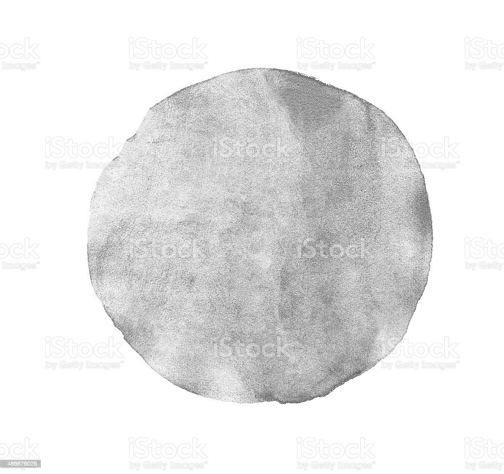 Monochrome grey circle watercolor isolated stock photo