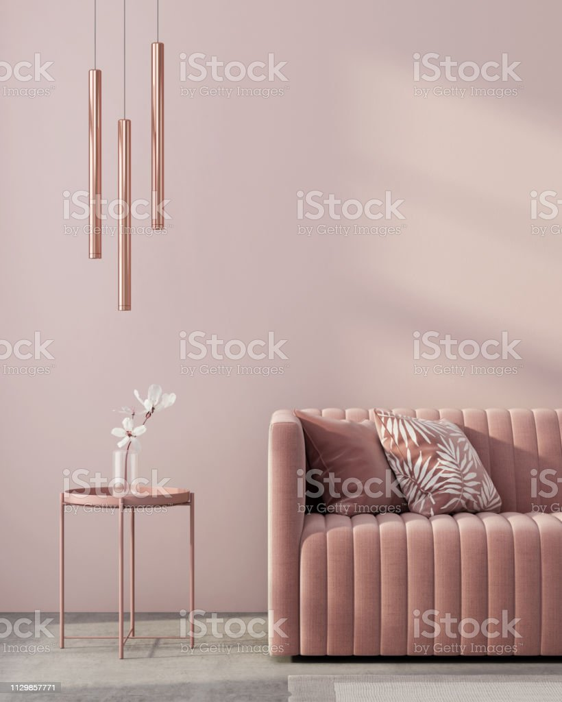 Monochrome interior in pink color Monochrome interior in pink color with a sofa, a table, a chandelier of pink gold and a white flower / 3D illustration, 3d render Chandelier Stock Photo