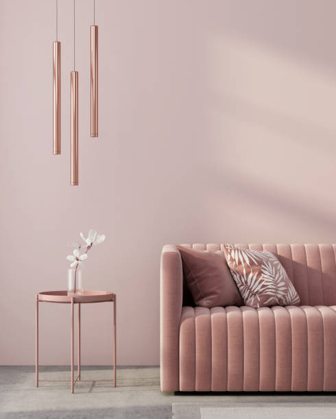 Monochrome interior in pink color Monochrome interior in pink color with a sofa, a table, a chandelier of pink gold and a white flower / 3D illustration, 3d render toned image stock pictures, royalty-free photos & images